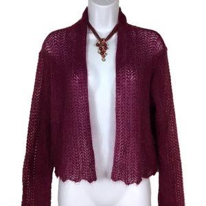 Burgundy Mohair Blend Knit Cardigan Eileen Fisher